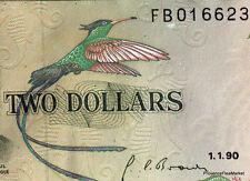 JAMAIQUE BEAU  billet neuf de 2 DOLLARS Pick69d  PAUL BOGLE OISEAU 1990