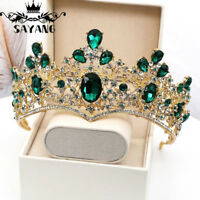 Baroque Green Crystal Tiaras Sparkly Rhinestones Crown Wedding Hair Accessories