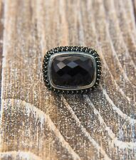 David Yurman Sterling Silver Black Onyx And Spinel Waverly Ring Size 5