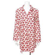 World Market Elephant Print Pajama Sleep Shirt Nightshirt Long Sleeve Button S M