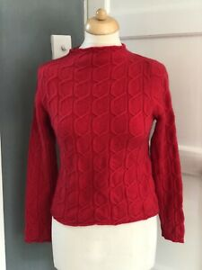 N Peal 100% Cashmere Womens Red Jumper Size Small