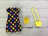 Mattel Barbie Doll Fashion Clothing Outfit ONLY Polka Dot Dress Yellow Shoes Bag
