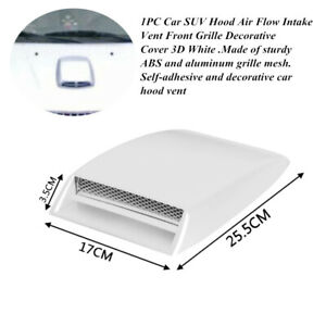 White Hood Air Flow Intake Vent Cool Car SUV Front Grille Decorative Cover 3D