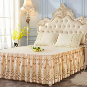 Lace Bed Skirt Flower Floral Print Pillowcase Ruffled Bedspread Full Queen King