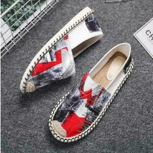 Mens Youth Vogue Printed Stitching Slip On Loafers Espadrilles Shoes Casual