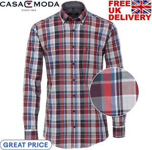 Casa Moda Shirt Mens Casual Long Sleeve Check Button Up Blue/Red Casual Fit