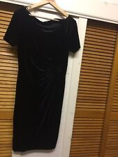 "LAVITTA LADIES Full Length VELVET Shorts Sleeve Winter Dress Size U.K 14"" Used """