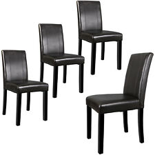 Set of 4 Leather Dining Room Kitchen Armless Chairs Seating Backrest Furniture