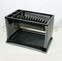 Plastic 2 Layer Tier Dish Drainer Rack Utensil Cutlery Kitchen Silver - Black ST