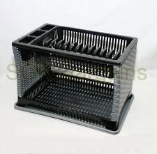 Plastic 2 Layer Tier Dish Drainer Rack Utensil Cutlery Kitchen Silver - Black ST