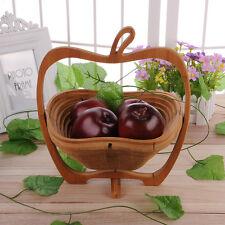 Hot Folding Bamboo Apple Shaped Fruit Bowl Basket Kitchen Fruit Bowl Collapsible