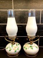 Pair Vtg Floral Hand Painted Milk Glass Boudoir Bed Side Lamps Hurricane Globe