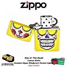 Zippo Day of the Dead, Lemon Matte Yellow, Skull, Windproof Lighter #24894