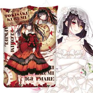 DATE A LIVE Tokisaki Kurumi Cover BedSheet Pillowcase Bedding Set Quilt 4PCS