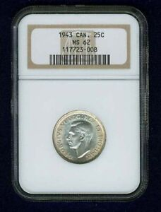 CANADA  GEORGE VI  1943  25 CENTS SILVER COIN, UNCIRCULATED, NGC CERTIFIED, MS62