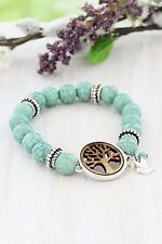 STRETCH BRACELET TREE OF LIFE WOOD TURQUOISE AND SILVERTONE 3 CHARMS HANDCRAFTED