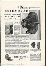 1929 Bell & Howell FILMO camera advertisement, Filmo Movie Cameras model 70 & 75