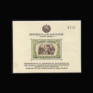 Salvador, Sc #612, MNH, 1948, S/S, FDR, Franklin D Roosevelt, SDD-G