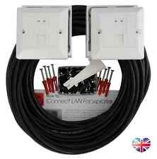 10m OUTDOOR EXTERNAL Cat 6 Network Cable DUAL EXTENSION KIT Face Plate Wall Box