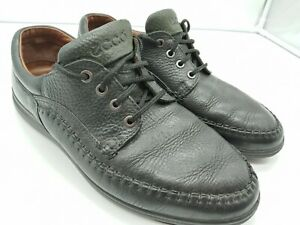 Men's Ecco Sea Walker Black Leather Oxford Walking Shoes Top Stiched SEE PICS