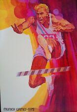 MUNICH 1972 OLYMPICS HURDLES 20x30 poster DICK HOYT art RARE (Not Schlitz)