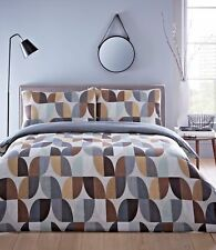 NATURAL BEIGE & GREY MODERN ABSTRACT PRINT REVERSIBLE DOUBLE BED DUVET COVER SET
