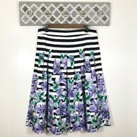 Talbots Floral Stripe Skirt Size 10 Black White Purple A-Line Fit & Flare