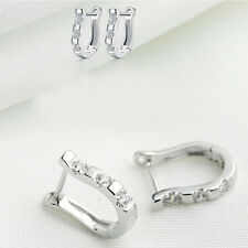 Elegant 1 Pair Hoop Earrings Harp Horse Shoe Earrings Silver White Gemstones
