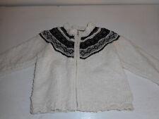 Grey Black Cream H&M LOGG zip front sweater fair isle pattern 6-9 months