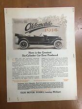 1914 Oldsmobile Model 54 Magazine Newspaper Sales Advertising Page