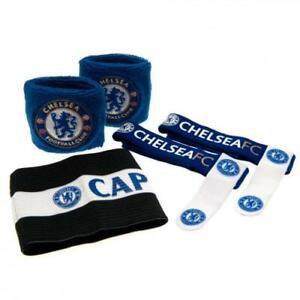 Chelsea FC Accessories Set ST 2 Wristbands 2 Sock Ties 1 Arm Band Official Item