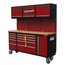 "72"" Mechanic Red-Black Rollin Tool Chest Combo Tool Box Wooden Top Workbench"
