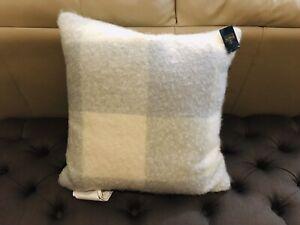 """Pendlenton plaid down/feather fill 20""""x 20"""" ivory/gray acrylic throw pillow NWT"""