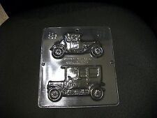 NEW 2 Cavity Hobby ANTIQUE CARS Chocolate Candy Fondant Plaster Clay Mold