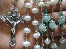 Special flower mate Pearl & Amazonite stations of the cross rosary necklace