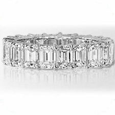 4.70 ct Emerald cut Diamond Ring 18k Gold Eternity Band Size 6 VS1 0.20 ct each