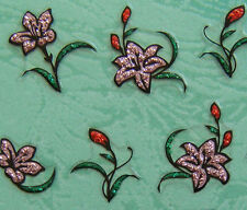 Nail Art 3D Sticker Glitter Decal Pink Lily Flower & Bud with Leaf 24 pcs/sheet