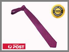 Wine Dark Purple Red New Slim Solid Mens silk Tie groom wedding skinny Necktie