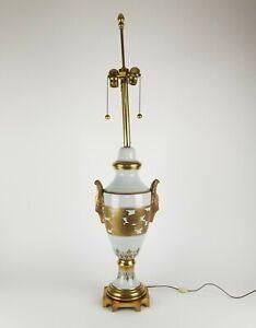 Mid Century Marbro Lamp Asian Gold Brass Porcelain Chrysanthemum Vintage