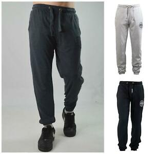 LONSDALE Mens Cotton Joggers Tracksuit Bottoms Cuffed Ankle Dark Grey 2XL
