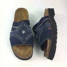 Naot Women's Blue Stretch Cork Footbed Platform Slides Size US L7 EU 38 Narrow