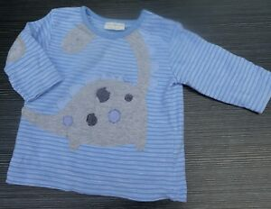 NEXT BABY BLUE STRIPE LONG SLEEVE DINOSAUR T SHIRT AGE UP TO 3 MONTHS