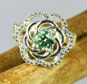 2.94 Ct Round Green Diamond Solitaire With Accents Women's Ring Christmas Gift