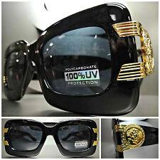 Men's CLASSIC VINTAGE RETRO HIP HOP RAPPER PARTY SUN GLASSES Black & Gold Frame