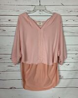 Porridge Anthropologie Women's L Large Pink 3/4 Sleeves Tunic Top Blouse Shirt