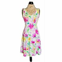 Chaps Dress Size 2  Floral Women's Sleeveless Pink White Green V Neck Spring