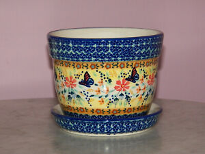 Polish Pottery Large Flower Pot with Saucer! UNIKAT Signature Butterfly Summer!