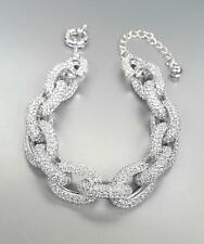 STUNNING Chunky Designer Style Silver CZ Crystals Encrusted Chain Links Bracelet
