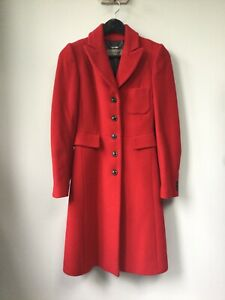 Gorgeous Ladies Jigsaw Red Wool Coat, UK Size 8, Good Used Condition