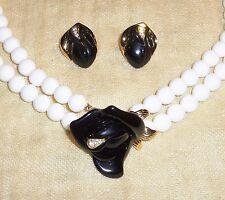 Vtg Kjl for Avon Black Midnight Rose 2 Strand Bead Necklace & Post Earrings Set